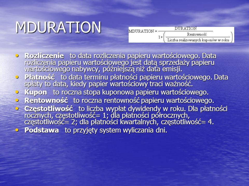 MDURATION Rozliczenie to data rozliczenia papieru wartościowego. Data rozliczenia papieru wartościowego jest datą sprzedaży papieru wartościowego naby