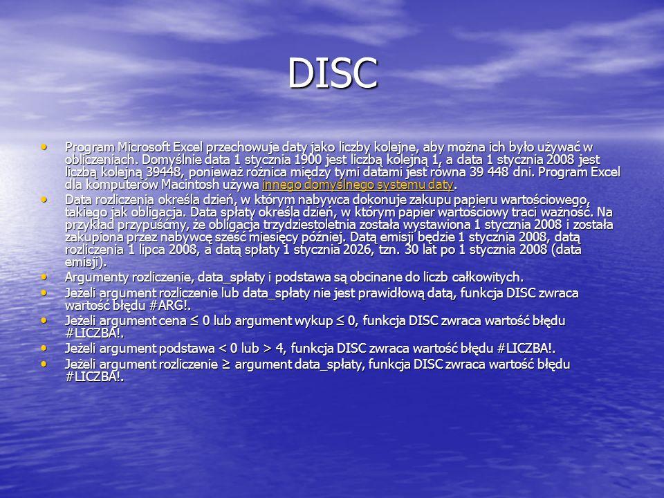 DISC Program Microsoft Excel przechowuje daty jako liczby kolejne, aby można ich było używać w obliczeniach. Domyślnie data 1 stycznia 1900 jest liczb