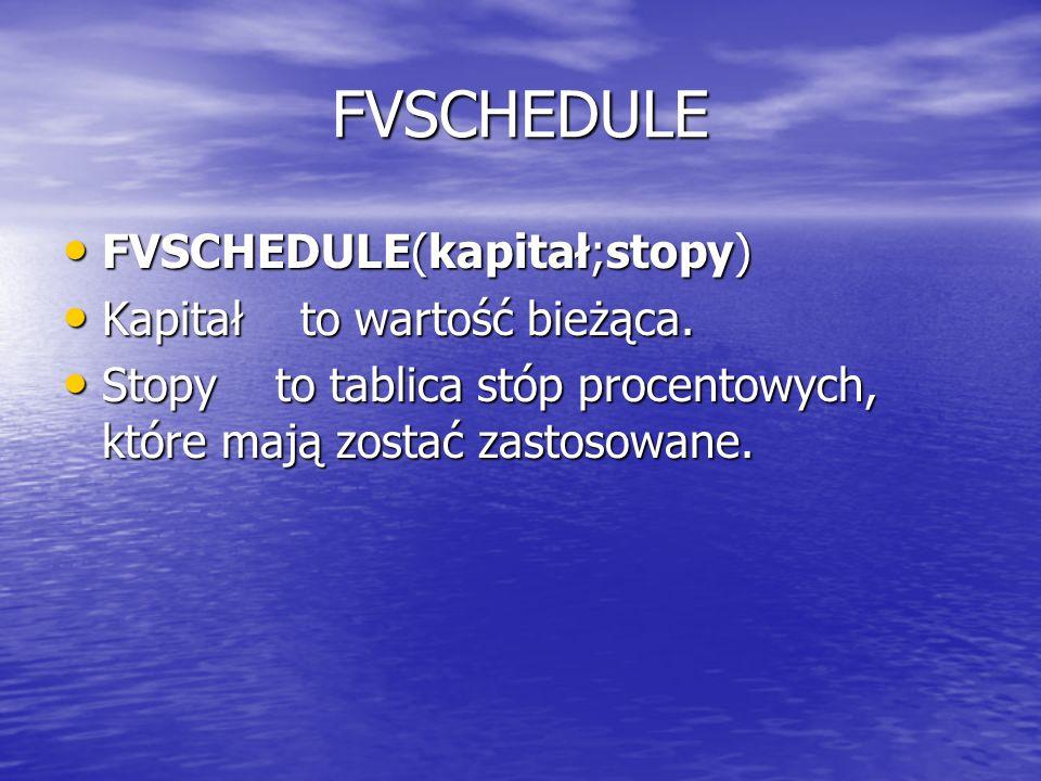 FVSCHEDULE FVSCHEDULE(kapitał;stopy) FVSCHEDULE(kapitał;stopy) Kapitał to wartość bieżąca. Kapitał to wartość bieżąca. Stopy to tablica stóp procentow