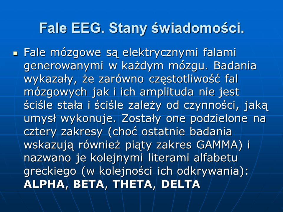 Fale EEG. Stany świadomości. Fale mózgowe są elektrycznymi falami generowanymi w każdym mózgu. Badania wykazały, że zarówno częstotliwość fal mózgowyc