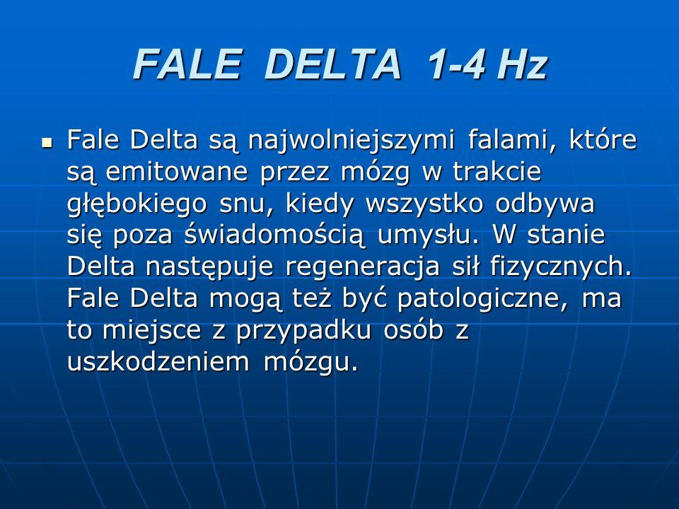 FALE DELTA 1-4 Hz Fale Delta są najwolniejszymi falami, które są emitowane przez mózg w trakcie głębokiego snu, kiedy wszystko odbywa się poza świadom