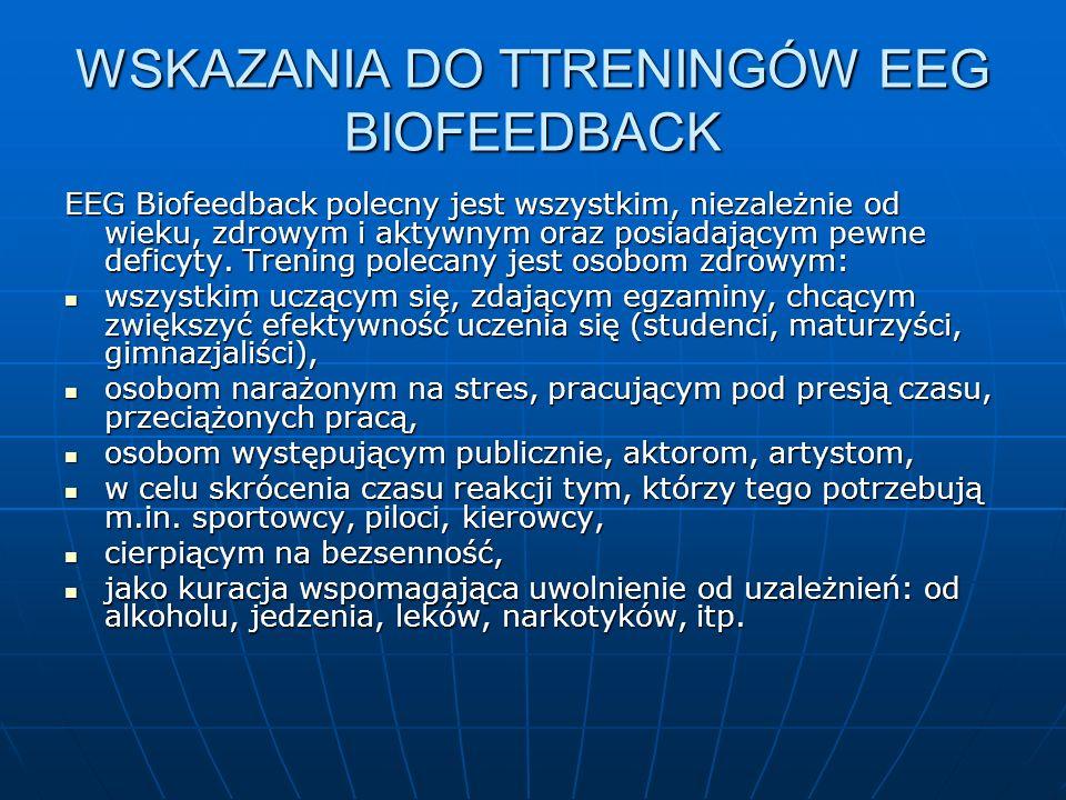 WSKAZANIA DO TTRENINGÓW EEG BIOFEEDBACK EEG Biofeedback polecny jest wszystkim, niezależnie od wieku, zdrowym i aktywnym oraz posiadającym pewne defic