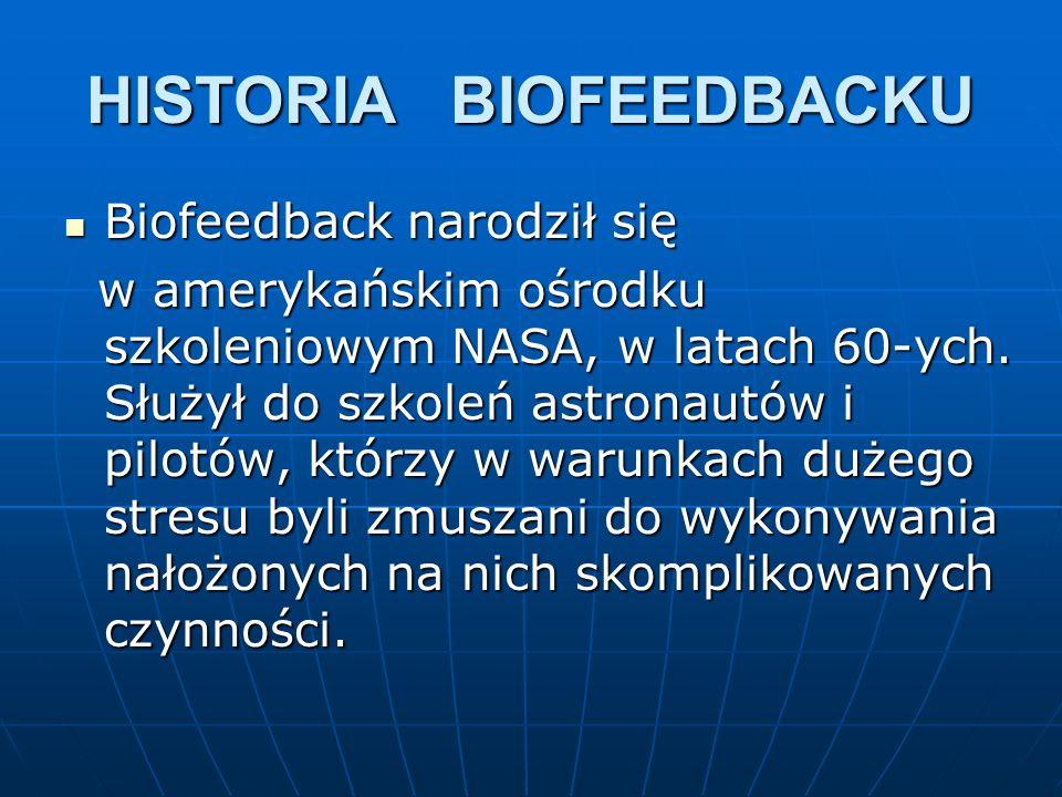HISTORIA BIOFEEDBACKU Biofeedback narodził się Biofeedback narodził się w amerykańskim ośrodku szkoleniowym NASA, w latach 60-ych. Służył do szkoleń a