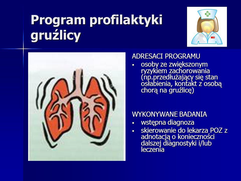Program profilaktyki gruźlicy ADRESACI PROGRAMU osoby ze zwiększonym ryzykiem zachorowania (np.przedłużający się stan osłabienia, kontakt z osobą chorą na gruźlicę) osoby ze zwiększonym ryzykiem zachorowania (np.przedłużający się stan osłabienia, kontakt z osobą chorą na gruźlicę) WYKONYWANE BADANIA wstępna diagnoza wstępna diagnoza skierowanie do lekarza POZ z adnotacją o konieczności dalszej diagnostyki i/lub leczenia skierowanie do lekarza POZ z adnotacją o konieczności dalszej diagnostyki i/lub leczenia