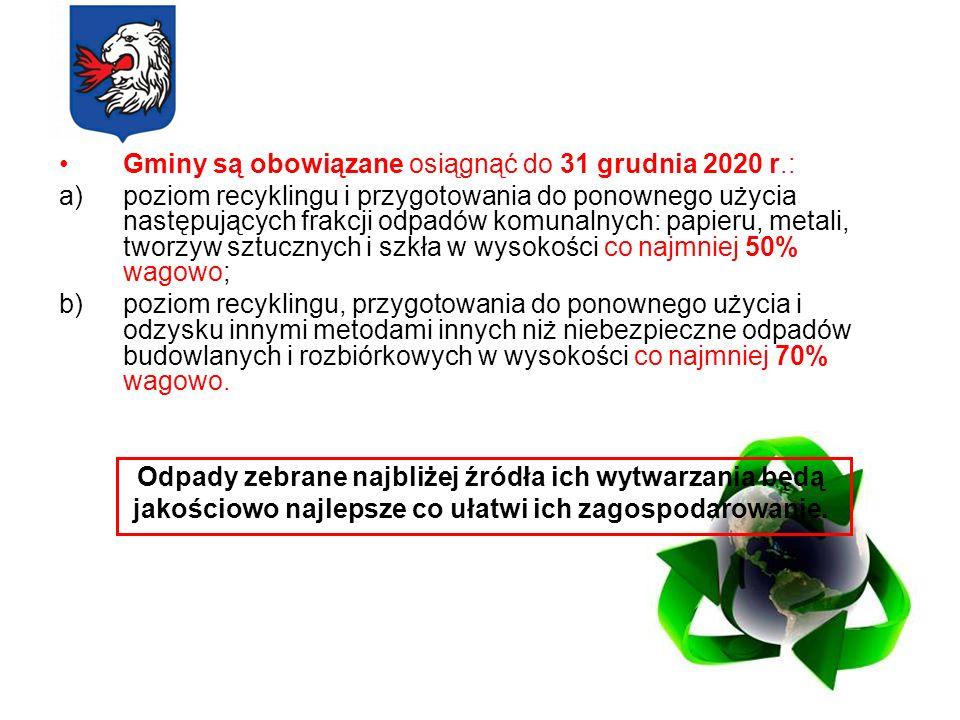 Gminy są obowiązane osiągnąć do 31 grudnia 2020 r.: a)poziom recyklingu i przygotowania do ponownego użycia następujących frakcji odpadów komunalnych: