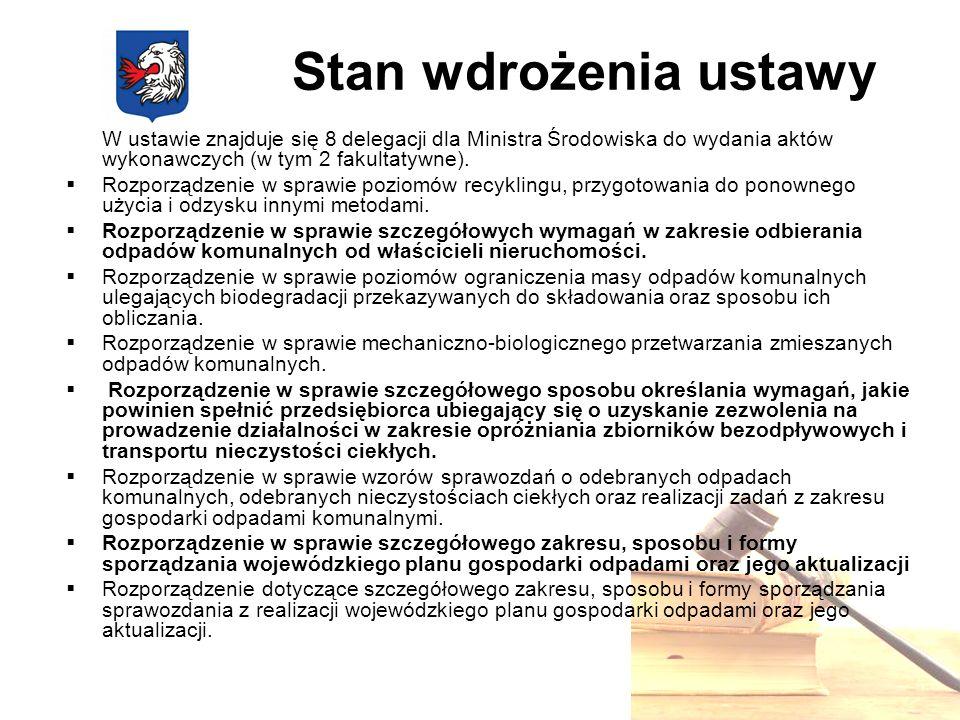 Nowe obowiązki Gminy Objęcie wszystkich właścicieli zamieszkiwanych nieruchomości na terenie Gminy Wodzisław systemem gospodarowania odpadami komunalnymi.