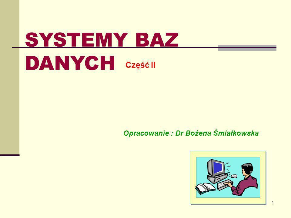 1 SYSTEMY BAZ DANYCH Część II Opracowanie : Dr Bożena Śmiałkowska