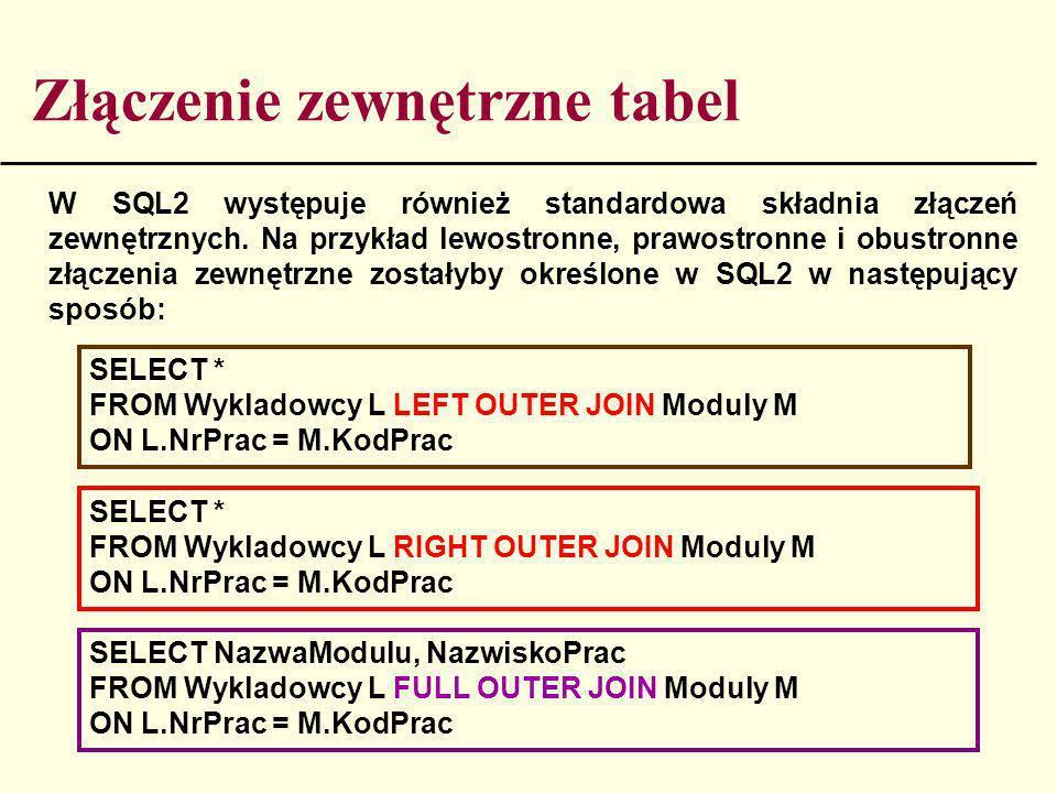 Złączenie zewnętrzne tabel W SQL2 występuje również standardowa składnia złączeń zewnętrznych. Na przykład lewostronne, prawostronne i obustronne złąc