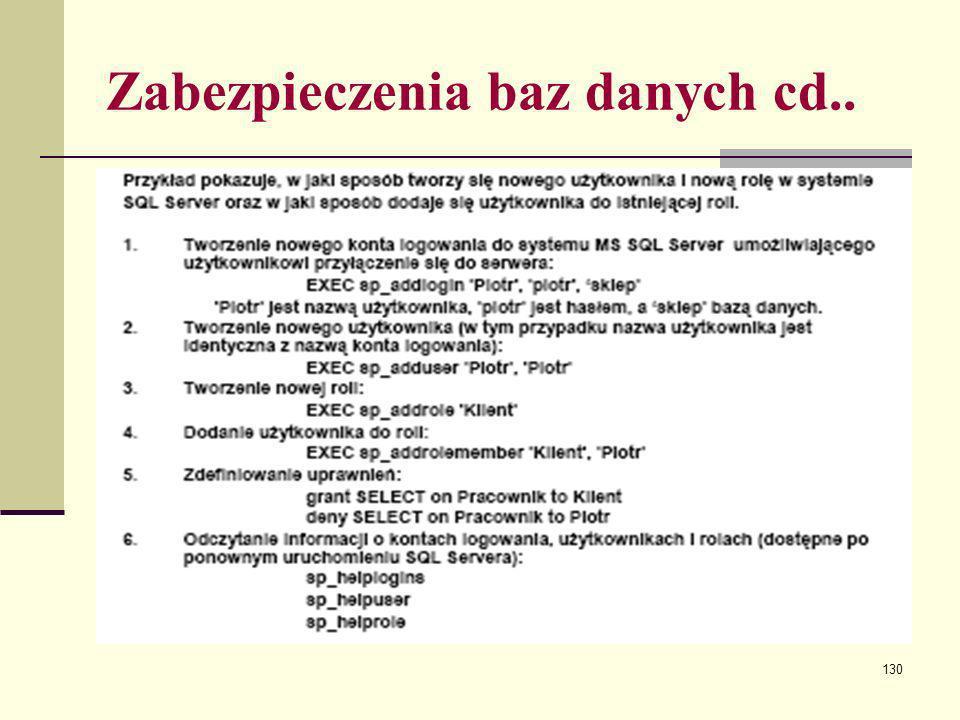 130 Zabezpieczenia baz danych cd..