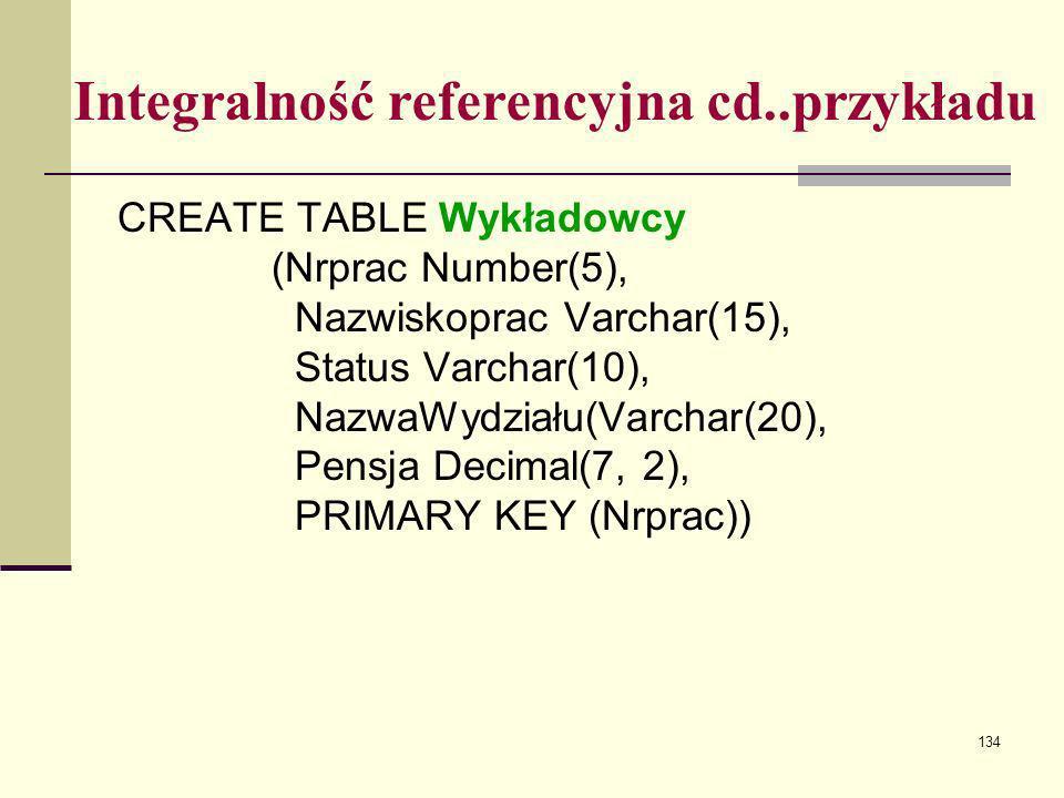 134 Integralność referencyjna cd..przykładu CREATE TABLE Wykładowcy (Nrprac Number(5), Nazwiskoprac Varchar(15), Status Varchar(10), NazwaWydziału(Var