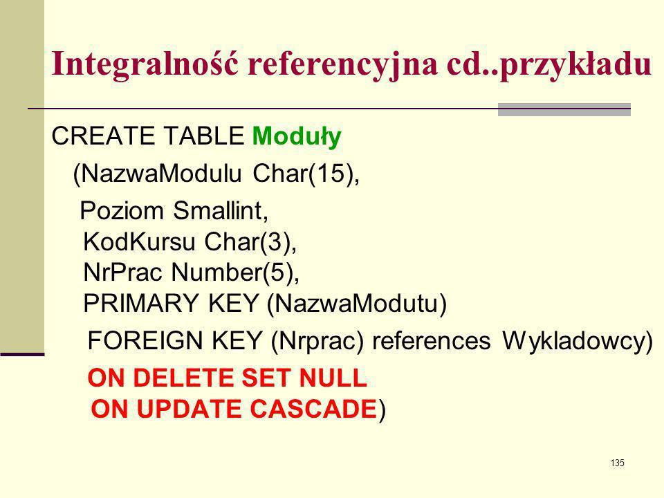 135 Integralność referencyjna cd..przykładu CREATE TABLE Moduły (NazwaModulu Char(15), Poziom Smallint, KodKursu Char(3), NrPrac Number(5), PRIMARY KE