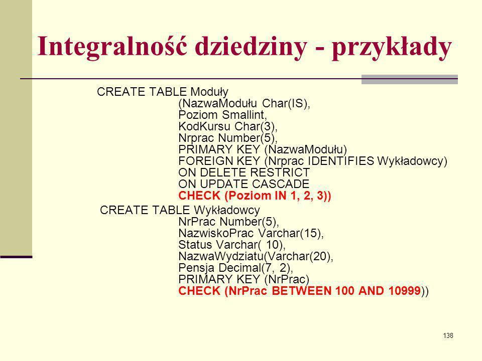 138 Integralność dziedziny - przykłady CREATE TABLE Moduły (NazwaModułu Char(IS), Poziom Smallint, KodKursu Char(3), Nrprac Number(5), PRIMARY KEY (Na