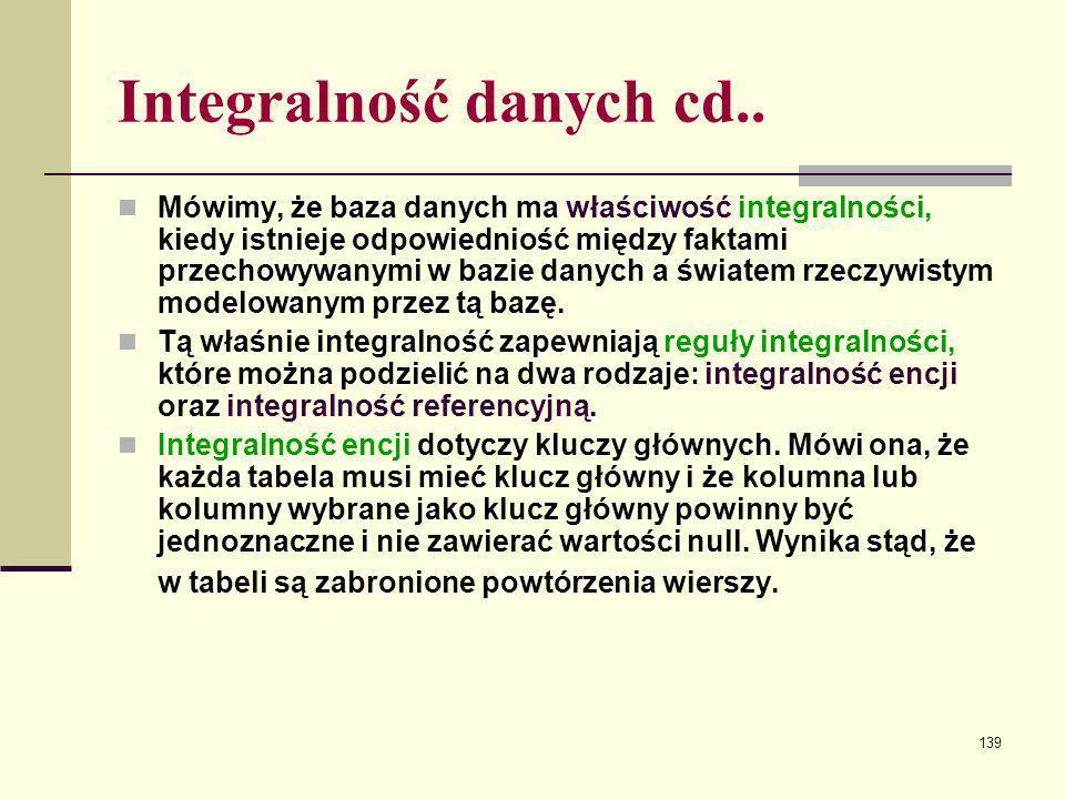 139 Integralność danych cd.. Mówimy, że baza danych ma właściwość integralności, kiedy istnieje odpowiedniość między faktami przechowywanymi w bazie d