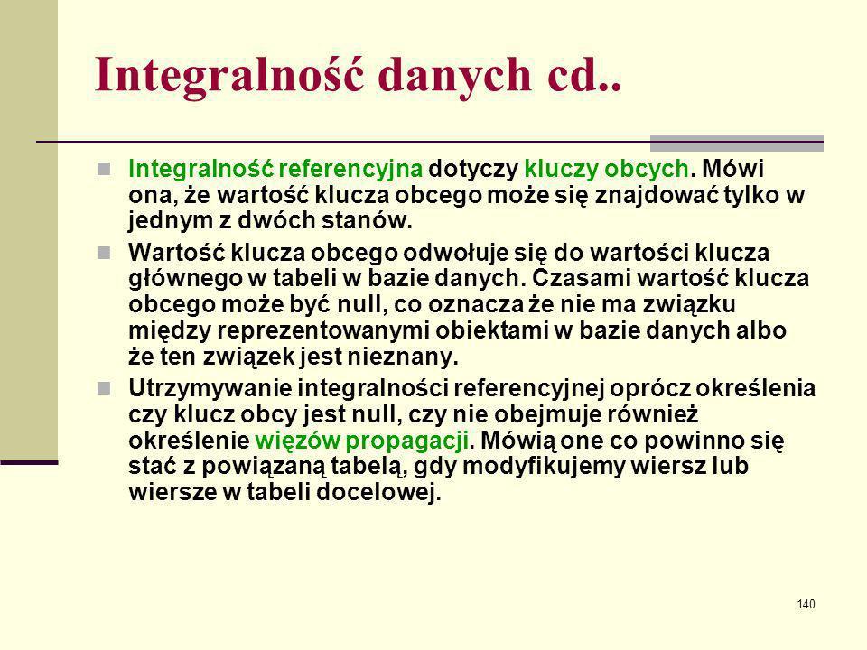 140 Integralność danych cd.. Integralność referencyjna dotyczy kluczy obcych. Mówi ona, że wartość klucza obcego może się znajdować tylko w jednym z d