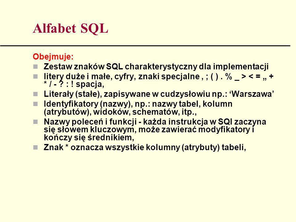 Alfabet SQL Obejmuje: Zestaw znaków SQL charakterystyczny dla implementacji litery duże i małe, cyfry, znaki specjalne, ; ( ). % _ > < = + * / - ? : !