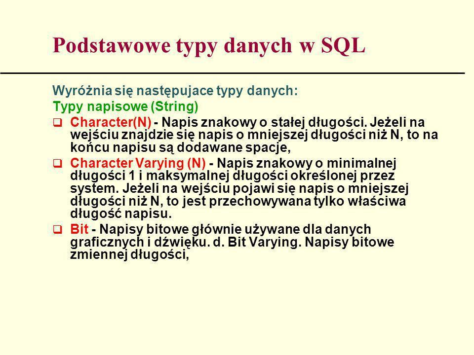 Podstawowe typy danych w SQL Wyróżnia się następujace typy danych: Typy napisowe (String) Character(N) - Napis znakowy o stałej długości. Jeżeli na we