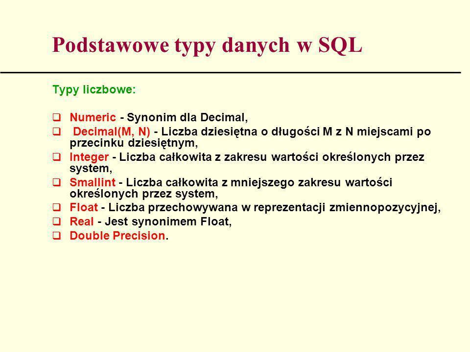 Podstawowe typy danych w SQL Typy liczbowe: Numeric - Synonim dla Decimal, Decimal(M, N) - Liczba dziesiętna o długości M z N miejscami po przecinku d
