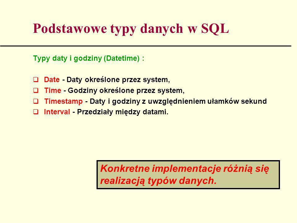 Podstawowe typy danych w SQL Typy daty i godziny (Datetime) : Date - Daty określone przez system, Time - Godziny określone przez system, Timestamp - D