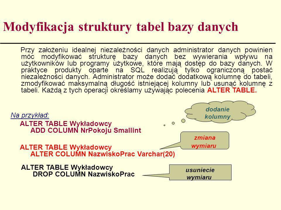 Modyfikacja struktury tabel bazy danych Przy założeniu idealnej niezależności danych administrator danych powinien móc modyfikować strukturę bazy dany