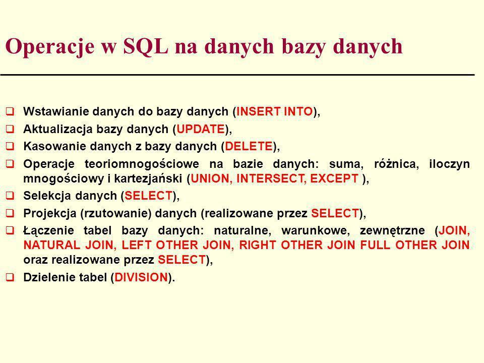 Operacje w SQL na danych bazy danych Wstawianie danych do bazy danych (INSERT INTO), Aktualizacja bazy danych (UPDATE), Kasowanie danych z bazy danych