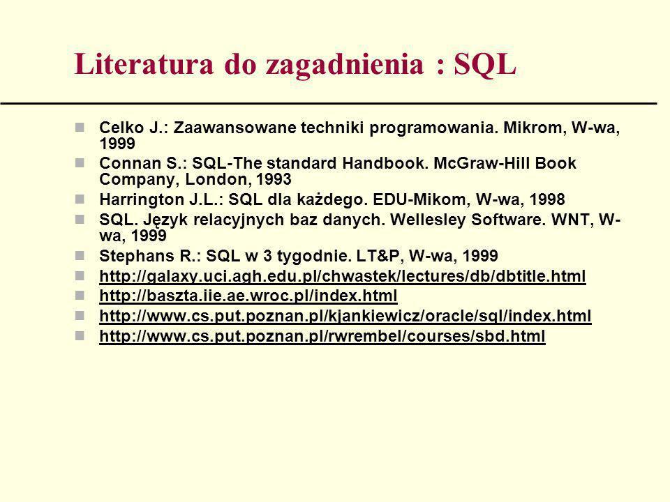 Zakładanie tabel bazy danych - przykłady CREATE TABLE sale (id_sali short not null, kod_kursu text(10) not null, nazwa_kursu text(30), wymiar_godz byte, czas_od text(12), id_kierunku text(4), Primary key (id_sali), Foreign key (id_kierunku) references KIERUNKI (nr_kierunek));