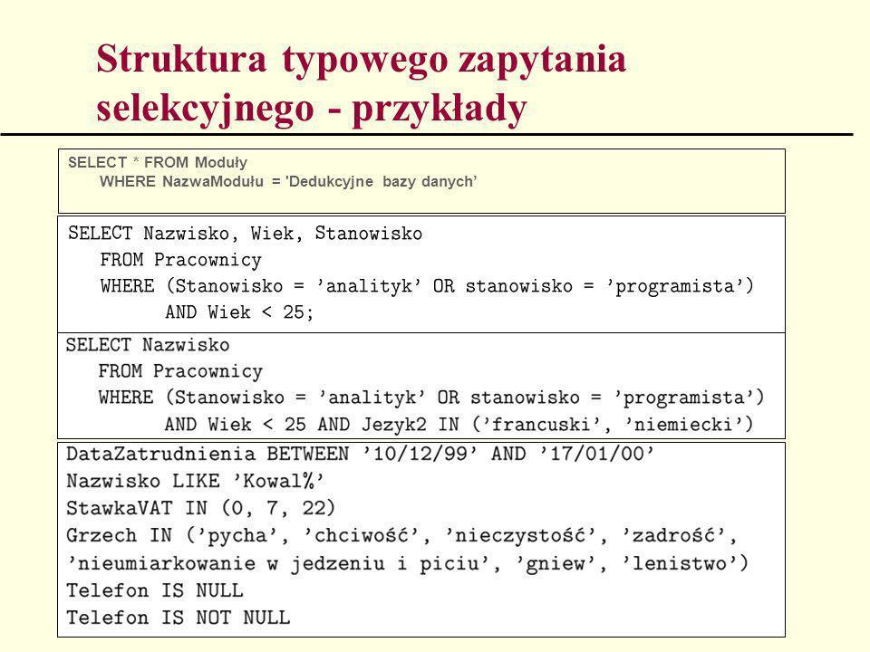 Struktura typowego zapytania selekcyjnego - przykłady SELECT * FROM Moduły WHERE NazwaModułu = 'Dedukcyjne bazy danych