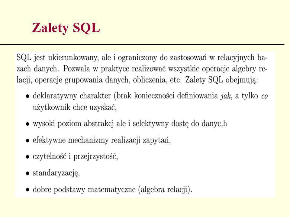 138 Integralność dziedziny - przykłady CREATE TABLE Moduły (NazwaModułu Char(IS), Poziom Smallint, KodKursu Char(3), Nrprac Number(5), PRIMARY KEY (NazwaModułu) FOREIGN KEY (Nrprac IDENTIFIES Wykładowcy) ON DELETE RESTRICT ON UPDATE CASCADE CHECK (Poziom IN 1, 2, 3)) CREATE TABLE Wykładowcy NrPrac Number(5), NazwiskoPrac Varchar(15), Status Varchar( 10), NazwaWydziatu(Varchar(20), Pensja Decimal(7, 2), PRIMARY KEY (NrPrac) CHECK (NrPrac BETWEEN 100 AND 10999))