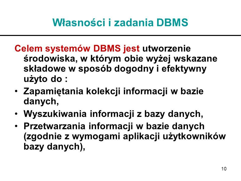 10 Własności i zadania DBMS Celem systemów DBMS jest utworzenie środowiska, w którym obie wyżej wskazane składowe w sposób dogodny i efektywny użyto d