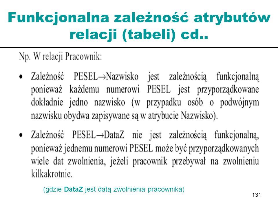 131 Funkcjonalna zależność atrybutów relacji (tabeli) cd.. (gdzie DataZ jest datą zwolnienia pracownika)