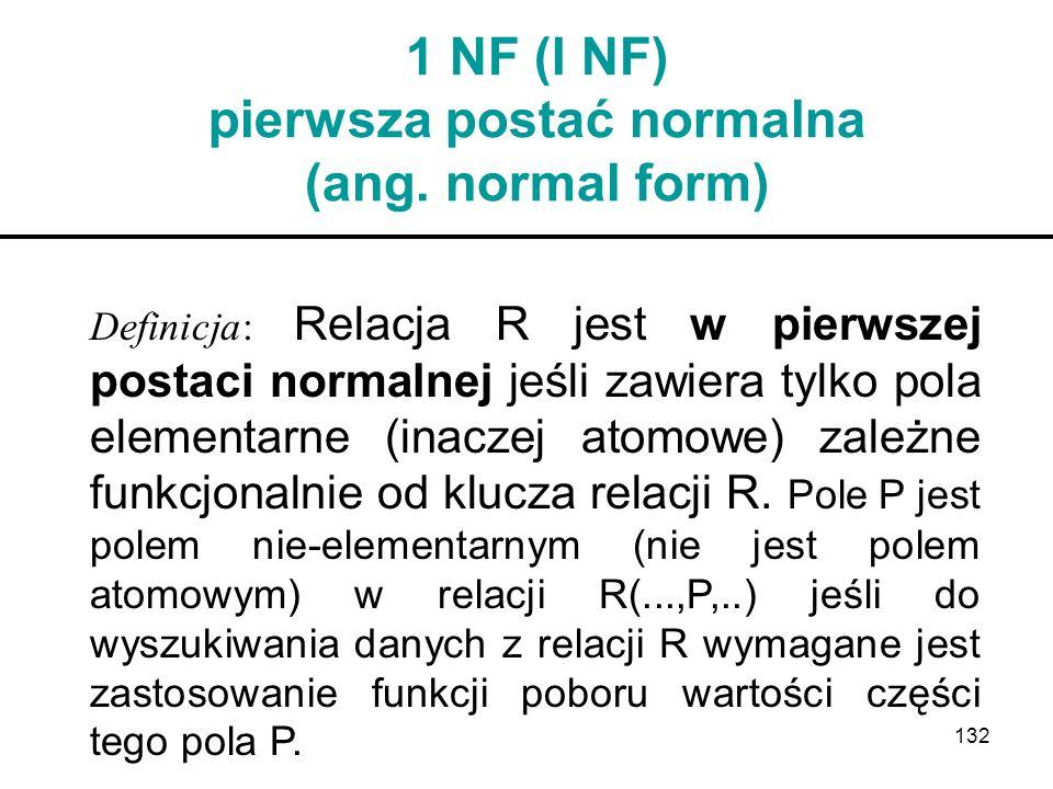 132 1 NF (I NF) pierwsza postać normalna (ang. normal form) Definicja: Relacja R jest w pierwszej postaci normalnej jeśli zawiera tylko pola elementar