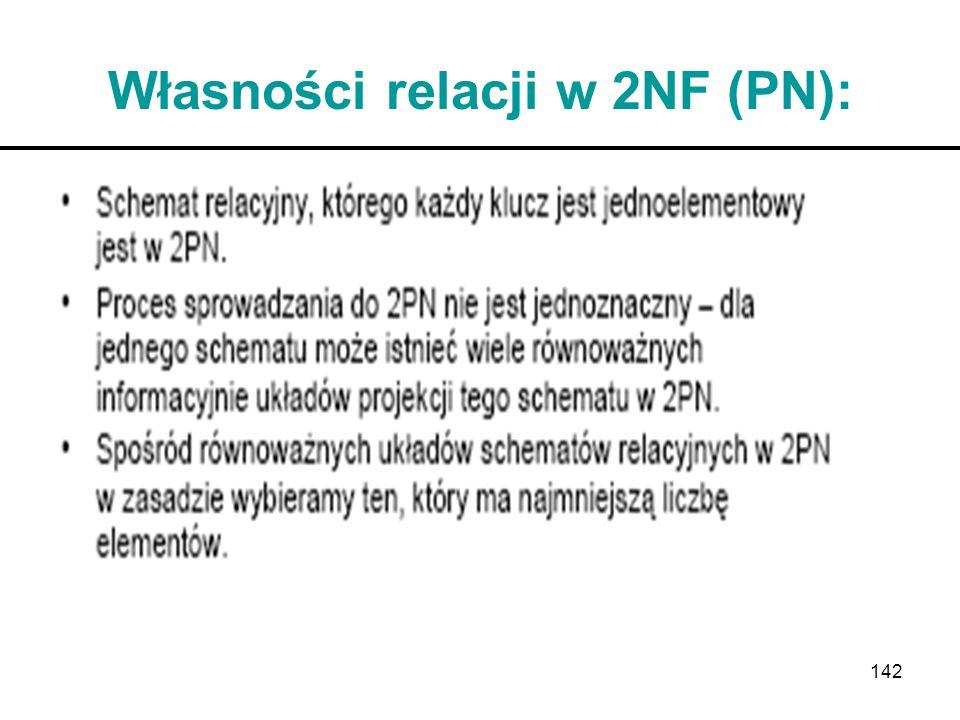 142 Własności relacji w 2NF (PN):
