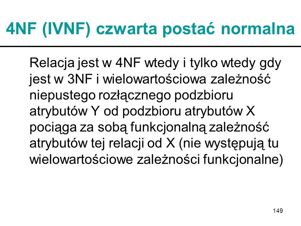 149 4NF (IVNF) czwarta postać normalna Relacja jest w 4NF wtedy i tylko wtedy gdy jest w 3NF i wielowartościowa zależność niepustego rozłącznego podzb