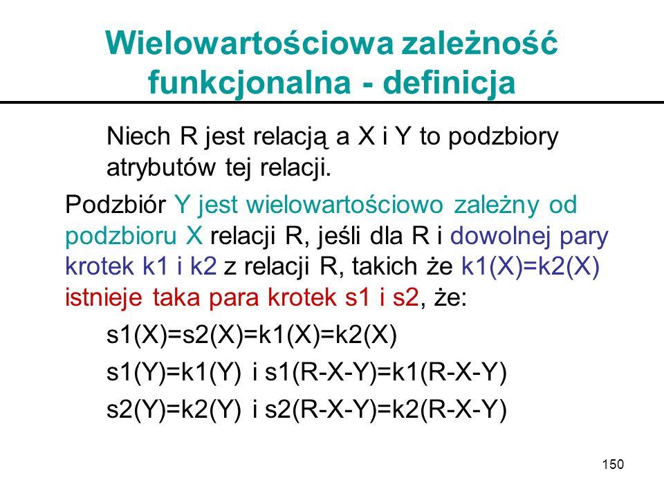 150 Wielowartościowa zależność funkcjonalna - definicja Niech R jest relacją a X i Y to podzbiory atrybutów tej relacji. Podzbiór Y jest wielowartości