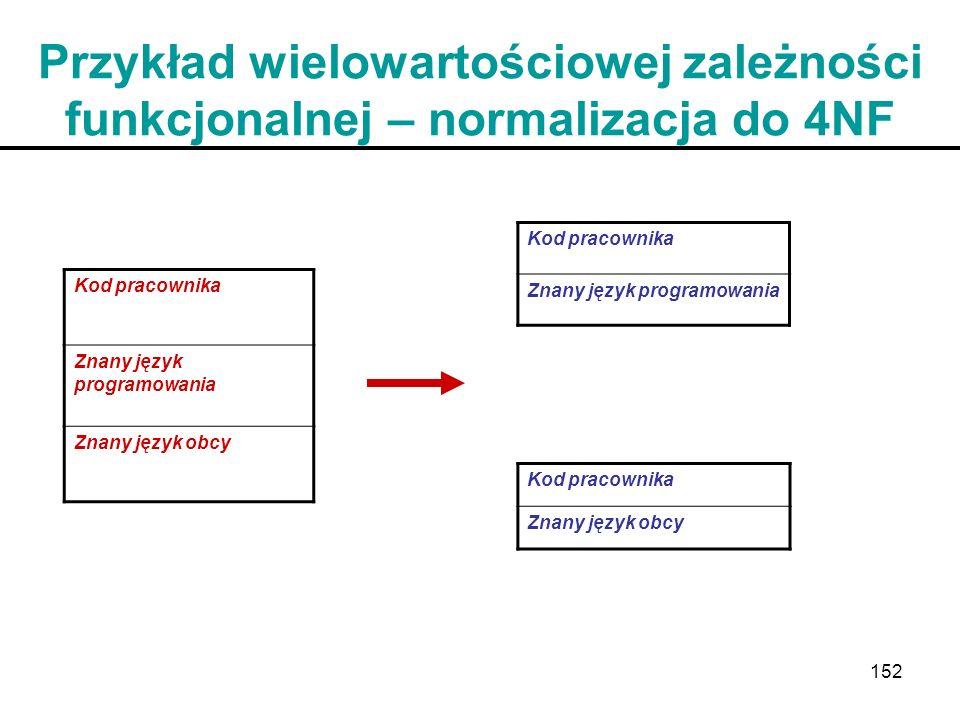 152 Przykład wielowartościowej zależności funkcjonalnej – normalizacja do 4NF Kod pracownika Znany język programowania Znany język obcy Kod pracownika