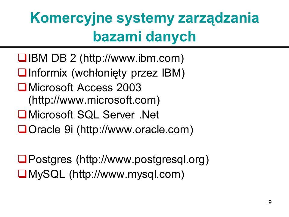 19 Komercyjne systemy zarządzania bazami danych IBM DB 2 (http://www.ibm.com) Informix (wchłonięty przez IBM) Microsoft Access 2003 (http://www.micros