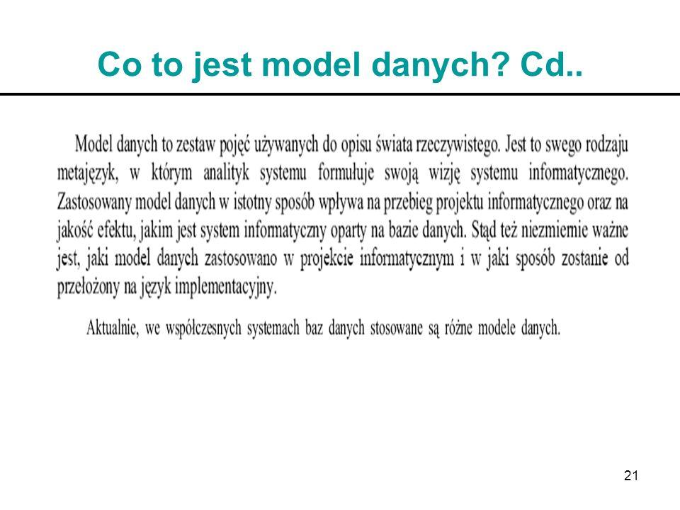 21 Co to jest model danych? Cd..