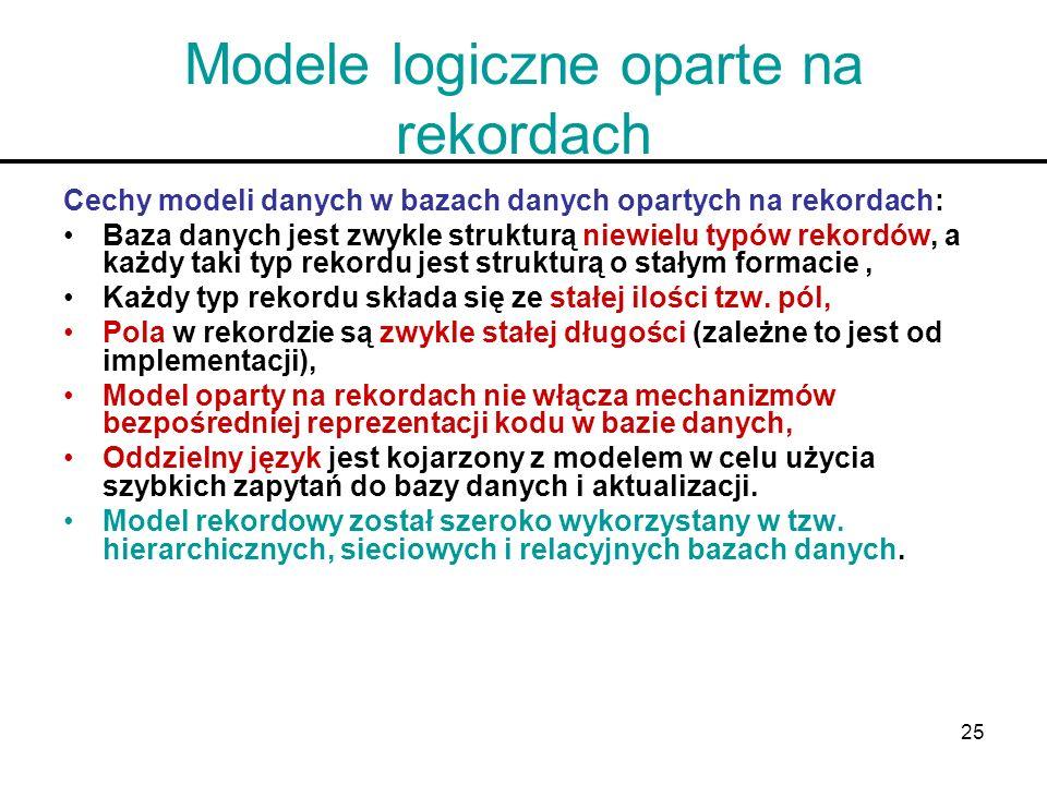 25 Modele logiczne oparte na rekordach Cechy modeli danych w bazach danych opartych na rekordach: Baza danych jest zwykle strukturą niewielu typów rek