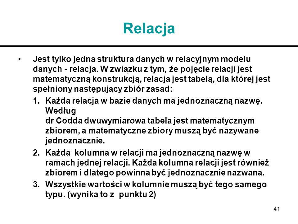 41 Relacja Jest tylko jedna struktura danych w relacyjnym modelu danych - relacja. W związku z tym, że pojęcie relacji jest matematyczną konstrukcją,