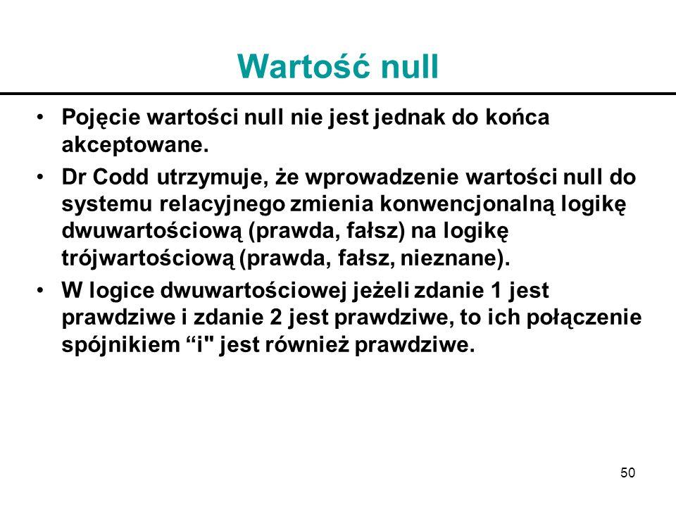 50 Wartość null Pojęcie wartości null nie jest jednak do końca akceptowane. Dr Codd utrzymuje, że wprowadzenie wartości null do systemu relacyjnego zm