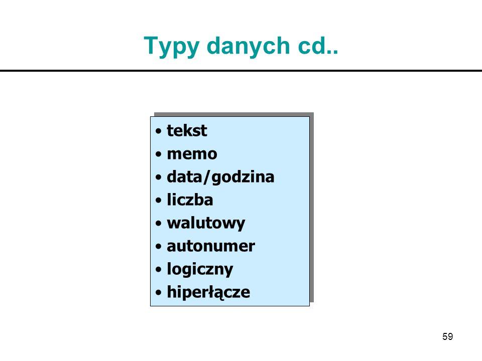 59 Typy danych cd.. tekst memo data/godzina liczba walutowy autonumer logiczny hiperłącze tekst memo data/godzina liczba walutowy autonumer logiczny h