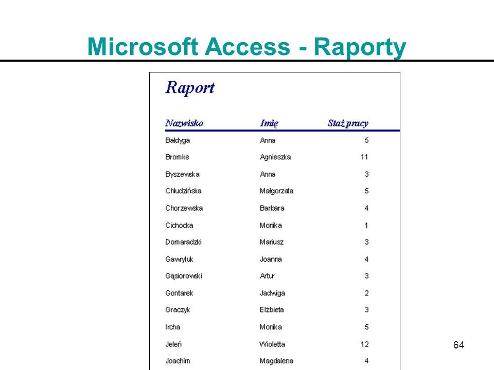 64 Microsoft Access - Raporty