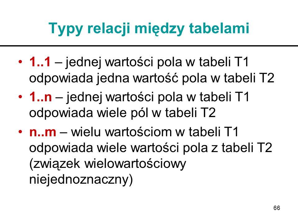 66 Typy relacji między tabelami 1..1 – jednej wartości pola w tabeli T1 odpowiada jedna wartość pola w tabeli T2 1..n – jednej wartości pola w tabeli