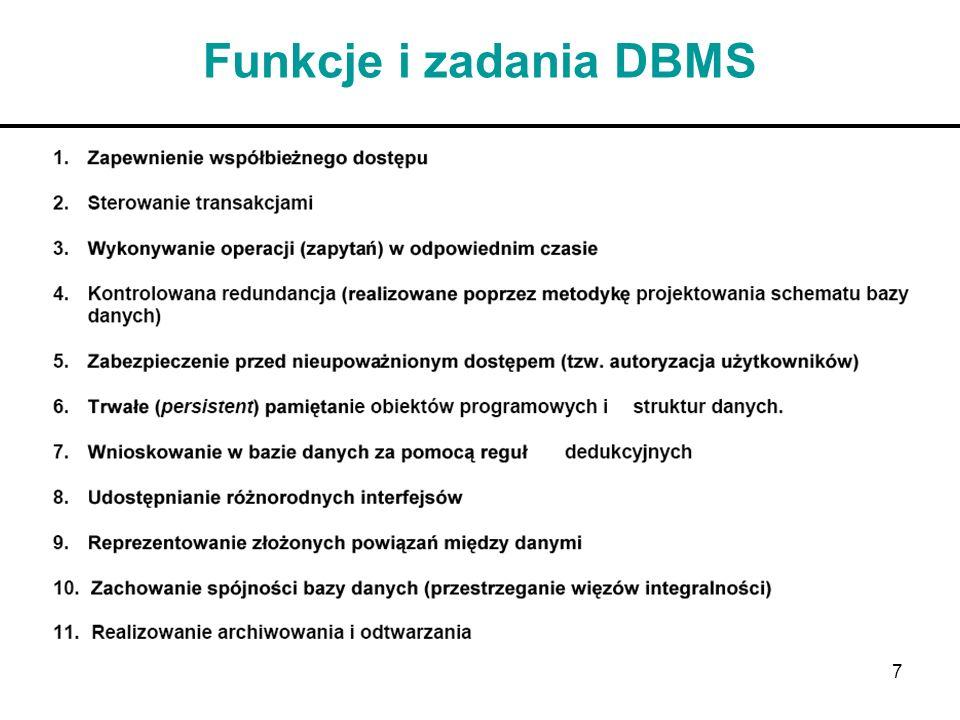 7 Funkcje i zadania DBMS