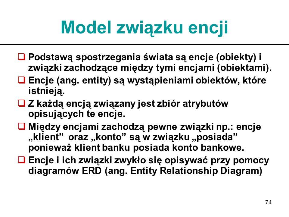 74 Model związku encji Podstawą spostrzegania świata są encje (obiekty) i związki zachodzące między tymi encjami (obiektami). Encje (ang. entity) są w