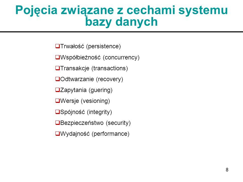 8 Pojęcia związane z cechami systemu bazy danych Trwałość (persistence) Współbieżność (concurrency) Transakcje (transactions) Odtwarzanie (recovery) Z