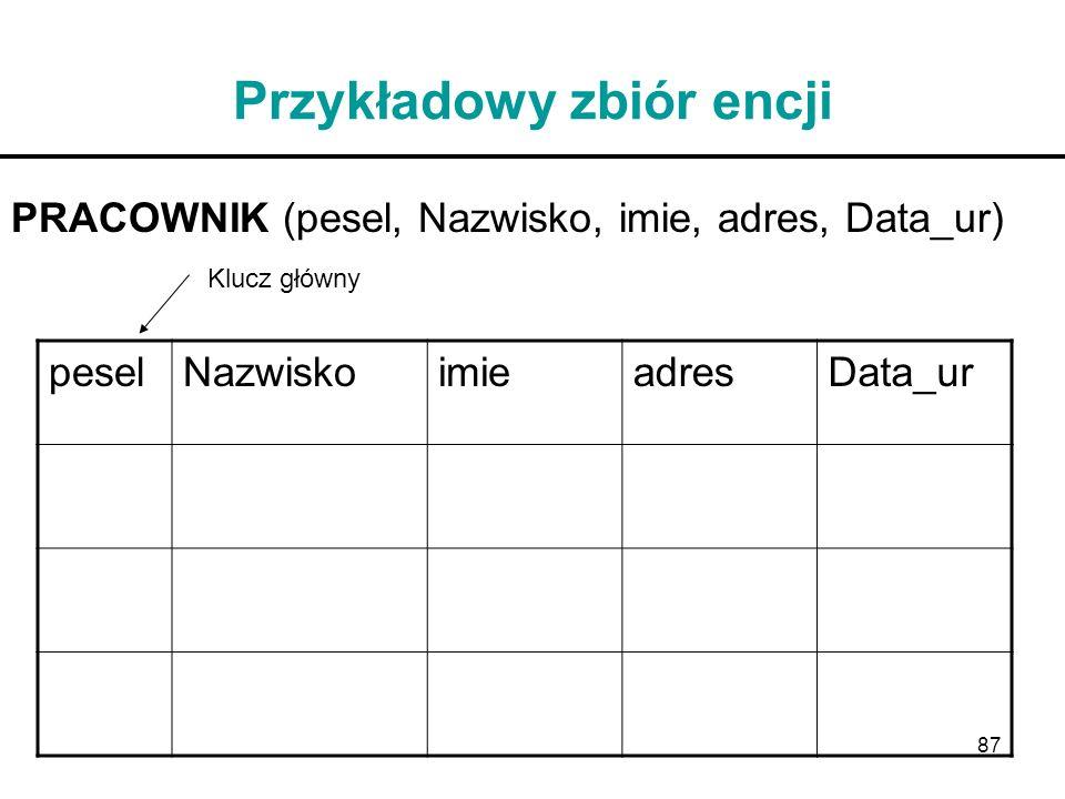 87 Przykładowy zbiór encji PRACOWNIK (pesel, Nazwisko, imie, adres, Data_ur) peselNazwiskoimieadresData_ur Klucz główny