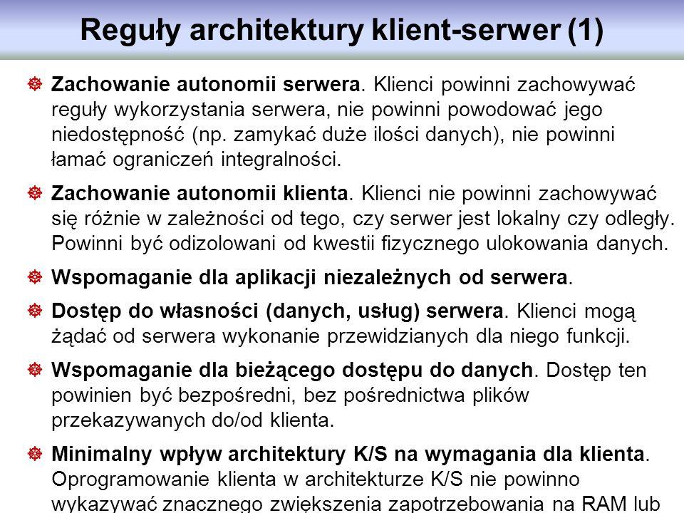 Reguły architektury klient-serwer (1) Zachowanie autonomii serwera. Klienci powinni zachowywać reguły wykorzystania serwera, nie powinni powodować jeg