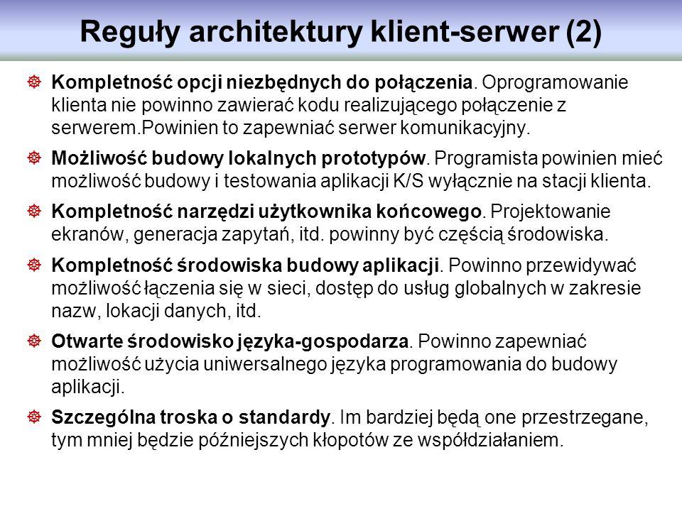 Reguły architektury klient-serwer (2) Kompletność opcji niezbędnych do połączenia. Oprogramowanie klienta nie powinno zawierać kodu realizującego połą