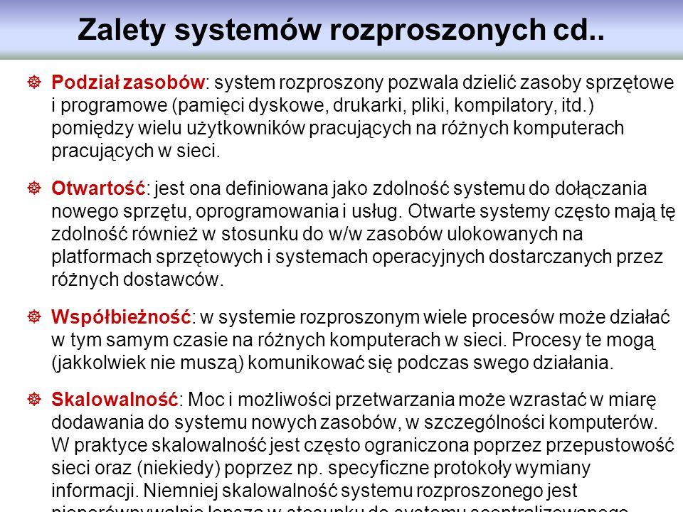 Zalety systemów rozproszonych cd.. Podział zasobów: system rozproszony pozwala dzielić zasoby sprzętowe i programowe (pamięci dyskowe, drukarki, pliki