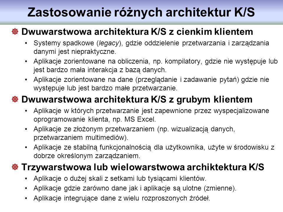 Zastosowanie różnych architektur K/S Dwuwarstwowa architektura K/S z cienkim klientem Systemy spadkowe (legacy), gdzie oddzielenie przetwarzania i zar